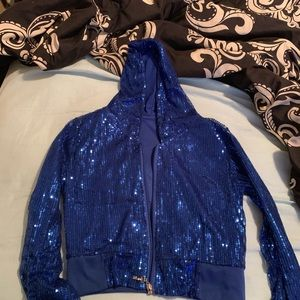 Sequin blue festival/rave cropped sweater